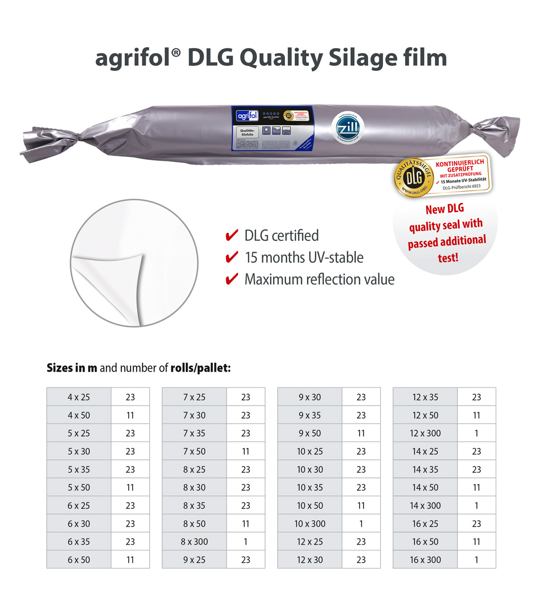 Zill Quality Silagefilm agrifol DLG Sizes